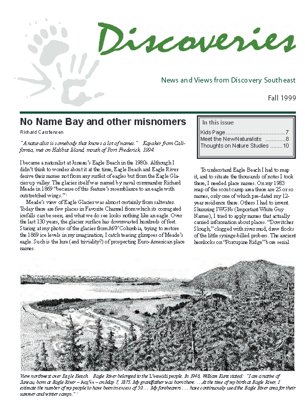 1999 fall newsletter: No Name Bay and other misnomers