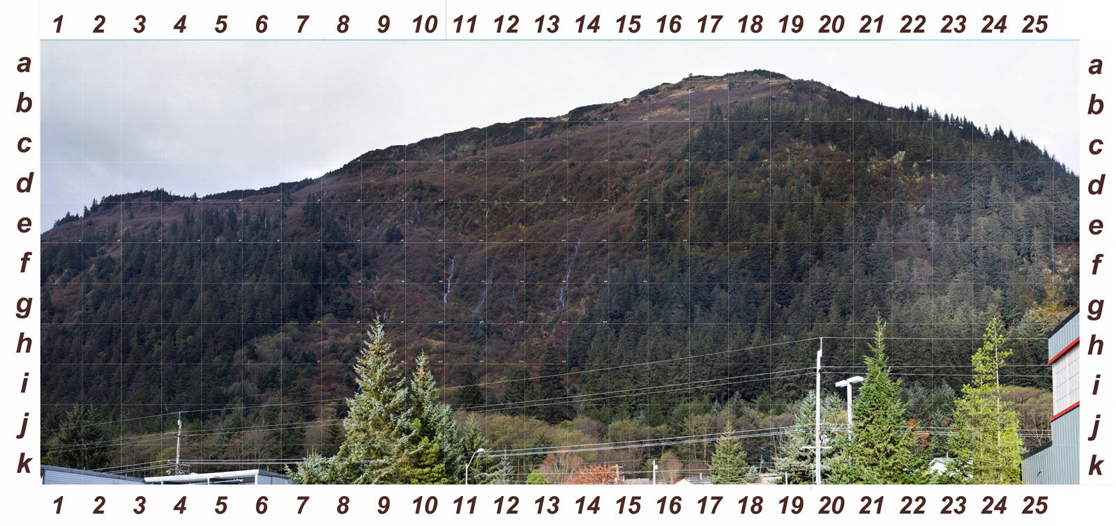 View of Behrends slide from JD High. It's about 2000 feet to the center of the slide area. Gridded for recording goat observations. Click to enlarge.