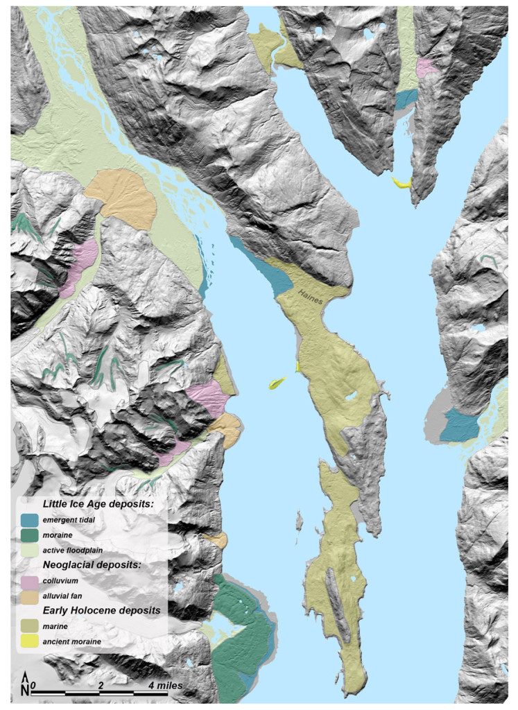 Using the IfSAR-generated bare-earth layer delivered in October, 2015, I extended Juneau's surficial geology mapping northward up Lynn Canal